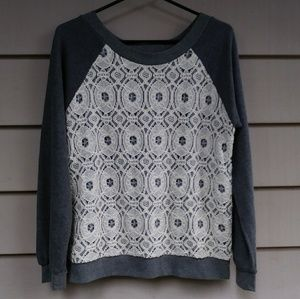 Sam & Lavi Grey Lace sweatshirt Small